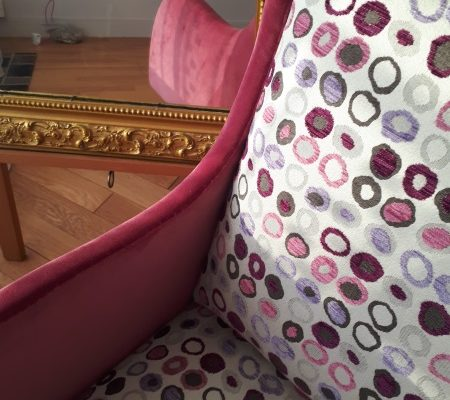 Chauffeuse Vintage Pois Parme Violet Omega Casal Velours