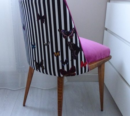 Dossier chaise vintage rayures blanches noires papillons zéphyr&Co
