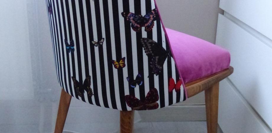 papillon vole velours Zéphyr &Co chaise vintage