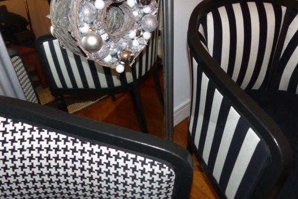 fauteuil tonneau cabriolet graphique rayure pied de coq noir et blanc