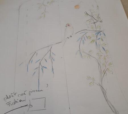 Dessin projet Stéphane Gillig oiseau japon