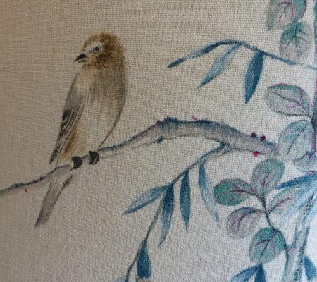 Détail peinture textile Stéphane Gillig oiseau japon