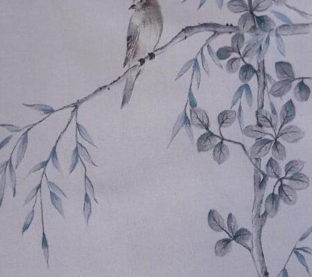 Peinture textile Stéphane Gillig oiseau japon