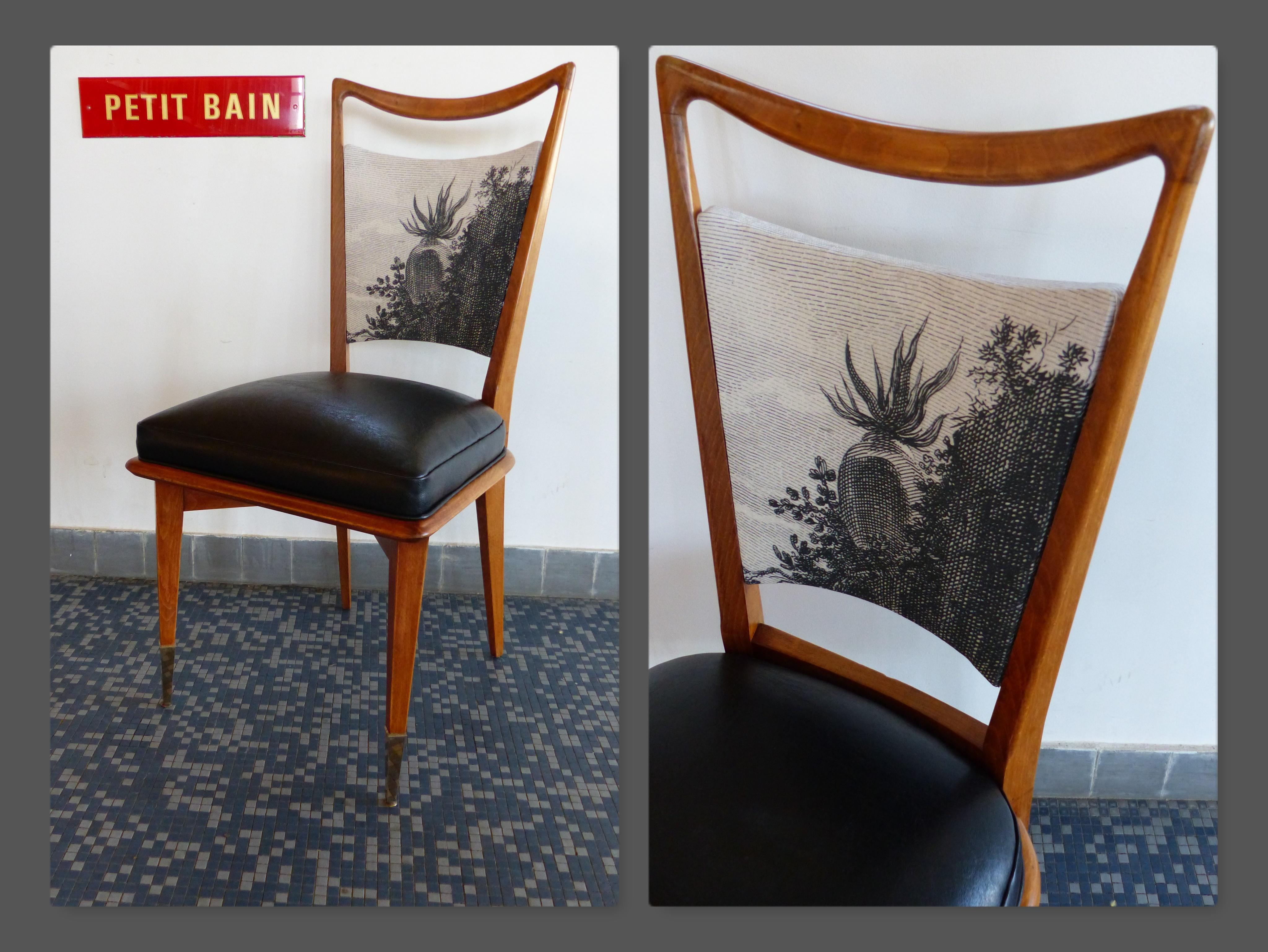 chaise vintage cactus gravure rétro catherine mettetal